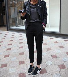 Leather Jacket and Adidas km