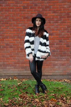 Bershka black and white fur coat, leather leggings, UK Fashion Blogger