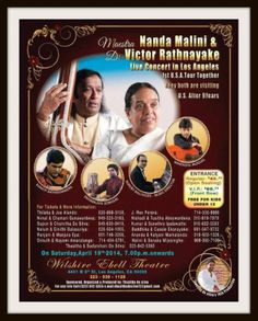 Nanda Malini & Victor Rathnayake live in Concert in Los Angeles on on April 19 , 2014 the Wilshire Ebell Theatre from pm onwards April 19, Community Events, Theatre, Live, Concert, Theatres, Concerts, Theater