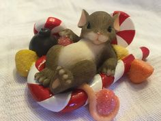 """Charming Tails """"HAVE A SWEET HOLIDAY"""" CHRISTMAS MOUSE FITZ AND FLOYD EARLY INTRO"""