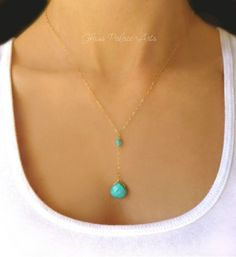 Gold Turquoise Necklace Turquoise Pendant by GlassPalaceArts