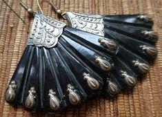 we crave beauty adornment vintage treasures :: jet black Bakelite earrings boho chic earrings gypsy earrings tango jewelry feather earrings fan earrings art deco earrings little black dress