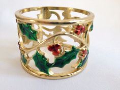 8 Lenox Holly and Berry Napkin Rings Gold Color Christmas Holiday Winter  #Lenox