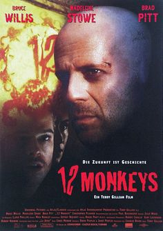 12 Monkeys Dirigida por Terry Gilliam y protagonizada por Bruce Willis, Madeleine Stowe y Brad Pitt Funny Movies, Top Movies, Great Movies, Movies And Tv Shows, Cinema Movies, Film Movie, Horror Movies, Brad Pitt, Bruce Willis