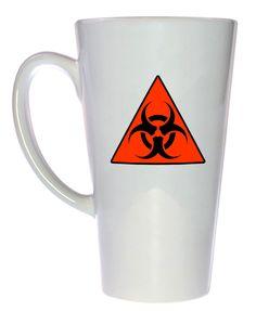Biohazard Warning Coffee or Tea Mug, Latte Size