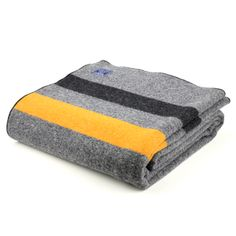 Grey Faribault Army Blanket, $129, Love the yellow and black and gray
