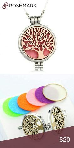 Silver Plated Jewelry with Tree of Life Diffuser Silver Plated DIY Jewelry with Tree of Life Locket Essential Oils Diffuser Aromatherapy Necklace and Felt Pads Cool Jewelry Necklaces