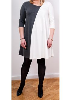 Dress Marta Graphite & White - Plus Size, 40$/EUR + shipping cost