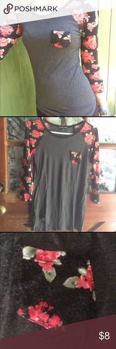 Baseball Style Rose Tee Extremely soft baseball style t-shirt. Tight fitting, very cute. Great with rose details on the sleeves and front pocket. Shows signs of wear. Tops Tees - Long Sleeve