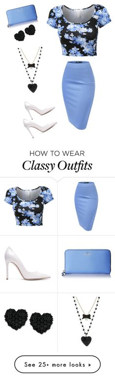 """""""classy"""" by travelo on Polyvore featuring Gianvito Rossi, Betsey Johnson, Kate Spade, women's clothing, women, female, woman, misses and juniors"""