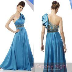 青空のように爽やかなブルーワンショルダーロングドレス♪ - ロングドレス・パーティードレスはGN|演奏会や結婚式に大活躍!