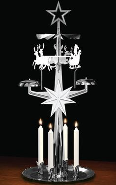 My grandmother had one of these with angels at the top. The heat of the candles made the figures on top go round.