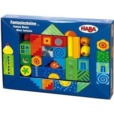 Haba Fantasy Blocks by Haba Toys USA. $36.89. From the Manufacturer                Building blocks of Beech wood and acrylic some with foil coating. 26 pieces.                                    Product Description                Haba Fantasy Blocks