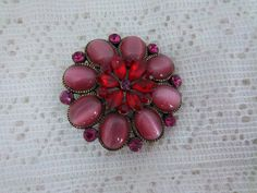 Vintage Red Cats Eye Brooch REDUCED PRICE.