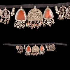 Yemen - Sa'dah | Women's collar necklace; silver, coral, carnelian and satin.  // ©Quai Branly Museum. 71.1974.182.12