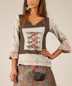 Another great find on #zulily! Gray & Pink Floral Lace-Up Notch Neck Top #zulilyfinds