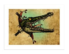 Crocodile - The Beasts Within Series, Neo-Traditional Tattoo Flash, Old School, Art Print 16x12 by BlackMast on Etsy https://www.etsy.com/listing/221488245/crocodile-the-beasts-within-series-neo