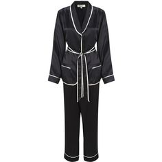 Somerset by Alice Temperley Tuxedo Pyjama Set, Black (14,830 INR) ❤ liked on Polyvore featuring intimates, sleepwear, pajamas, long sleeve pajamas, silk pajama set, black pajamas, silk pjs and silk pajamas