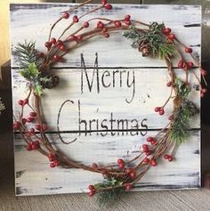 Rustic Christmas Winter Wood Pallet Sign w / berry garland pine cones, Merry Christmas stencil, Christmas decor, Christmas decoration - This wood sign is a rustic and pretty Christmas decoration for your home. Noel Christmas, Rustic Christmas, Winter Christmas, Christmas Wreaths, Outdoor Christmas, Primitive Christmas, Christmas Pallet Signs, Cowboy Christmas, Office Christmas