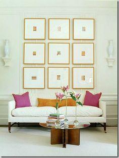 Art set over sofa