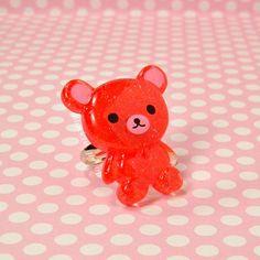 Cute Red Bear Ring Silver Glitter Resin Kawaii Jewelry by blacktulipshop