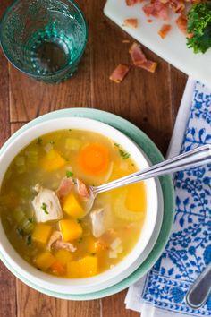 Chicken, Butternut and Leek Soup with Bacon | sweetpeasandsaffron.com @necie83