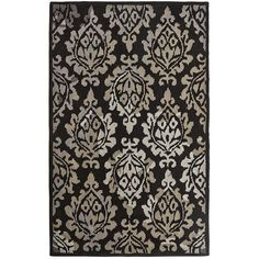 Callow Damask Rugs Black ($140) ❤ liked on Polyvore featuring home, rugs, pattern rug, wool area rugs, black wool rug, black area rug and wool rugs