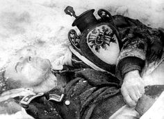 Russia. This German soldier looted this porcelain pot probably for a family member or girlfriend back home. But was shot down or froze to death still clutching the pot.