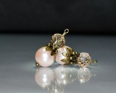 2 Vintage Style Peachy Pink Bead Dangles or Earrings - 10mm Glass Pearls by goldcountrydangles on Etsy