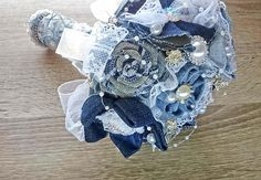 Wedding denim blue bouquet alternative bouquet broach bouquet navy blue bouquet lace bouquet upcycled denim navy blue bride fabric bouquet