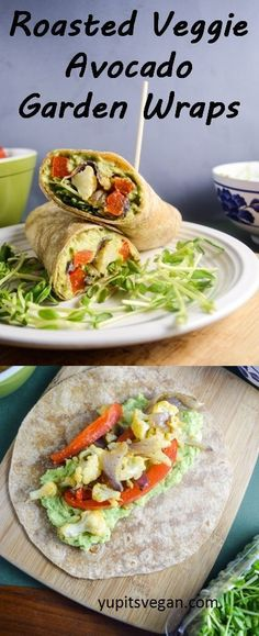 Roasted Vegetable Avocado Garden Wraps These healthy vegan wraps are filled with lemon pepper avocado mash and savory roasted vegetables perfect for transitioning from. Vegan Lunches, Vegan Foods, Vegan Dishes, Healthy Snacks, Healthy Eating, Healthy Vegan Meals, Savory Snacks, Veggie Recipes, Whole Food Recipes