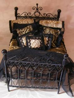 Miniature Dressed Beds by Miss Amelia (jt- 'The Majestic' dressed in black and gold silks and satin)