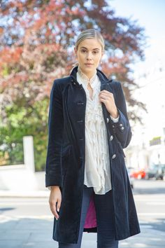 Classic, beautiful and luxurious in texture - the utimate dress coat that can be paired down with jeans for a more relaxed look. Available in 3 colours and made from the finest italian cotton velvet. Blue Trench Coat, Trench Coat Style, Classic Trench Coat, Navy Coat, City Style, Coat Dress, Winter Wear, London Fashion, Timeless Fashion