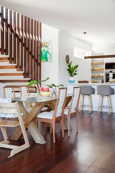 After falling in love with the location, this DIY couple went about turning their old brick bungalow in Perth into two-storey beach house, full of clever design features and creative decor ideas. Living Room Styles, Living Room Decor, Living Area, Home Renovation, Home Remodeling, Kitchen Renovations, Modern Dining Table, Dining Room Furniture, Dining Rooms