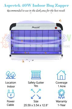 ba99b24ce41  Aspectek 40W Electronic Bug Zapper  POWERFUL INSECT CONTROL  EFFECTIVE   amp  LARGE AREA