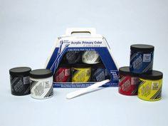 Prima Acrylic - Primary Color Set (Five 236 mL Jars) & More
