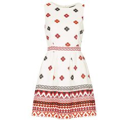 TOPSHOP Tapestry Print Sundress (20 CAD) ❤ liked on Polyvore featuring dresses, topshop, white, white sun dress, white sundress, cotton dress and white cotton dress