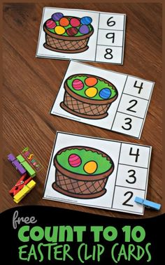 FREE Count to 10 Easter Clip Cards - this is such a fun math activity for preschoolers and kindergartners to make counting fun cards eyfs Counting Activities For Preschoolers, Easter Activities For Preschool, April Preschool, Fun Math Activities, Free Preschool, Toddler Preschool, April Easter, In Kindergarten, Easter Printables