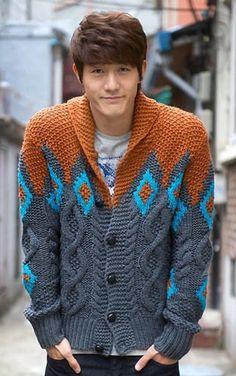 Mens hand knitted cardigan turtleneck sweater cardigan men clothing wool handmade men's knitting aran cabled crewneck