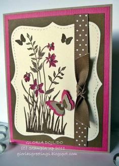 Stampin' Up! Just Believe-Crumb Cake, Soft Suede, and Rich Razzleberry. So pretty and Rich! Love the use of Stampin' Up! Big Shot Top Note Bigz for the cut out.