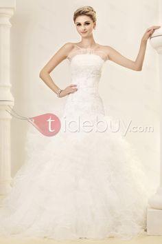 Gorgeous Ball Gown Strapless Sleeveless Ruffles Dasha's Wedding Dress