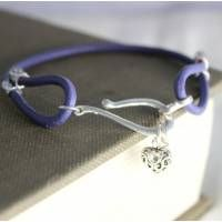 Personalised Leather and Silver Charm Bracelet- Purple