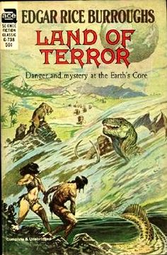 "G-738 EDGAR RICE BURROUGHS Land of Terror (cover and title page illustration by Frank Frazetta; c.1944; 1964; 1968; 2nd ACE printing; listed as ""complete and unabridged"")  Land of Terror was originally published as ACE Single F-256 (1964) with same cover art."