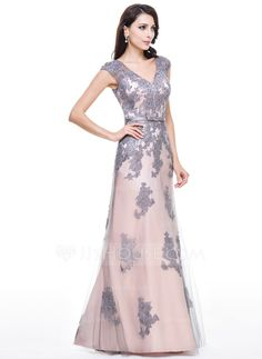 Trumpet/Mermaid V-neck Floor-Length Tulle Evening Dress With Beading Appliques Lace Sequins Bow(s) (017056124)