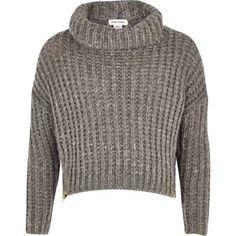 Girls grey zip hem chunky knit jumper https://elenisworld.wordpress.com/2014/12/10/hot-right-now-ankle-boots-2/