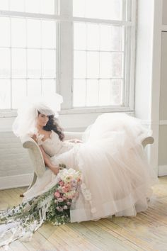 Wedding Gown With Full Tulle Skirt and Veil | photography by http://www.elisabethmillay.com/  | floral design by http://www.rebeccashepherdfloraldesign.com/