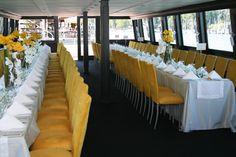 Beautiful styling | The Wedding Yacht Yacht Wedding, Wedding Venues, Vancouver Wedding Venue, Real Weddings, Table Decorations, Cake, Flowers, Inspiration, Beautiful