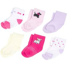 Growing Socks by #Peds, Girls' Infant, Dogs & Bows, 6 Pairs - Walmart.com Shop now @walmart #PedsBaby #GrowingSocks