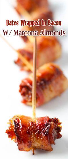 Dates Wrapped In Bacon With Marcona Almonds tapas party ; Tapas Platter, Tapas Menu, Tapas Party, Antipasto Recipes, Tapas Recipes, Recipies, Bacon Dates, Bacon Wrapped Dates, Bacon Wrapped Water Chestnuts