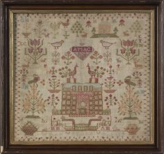 Wool needlework, 19th c., wrought by Sarah Mearn : Lot 1199 has interesting flowery trees